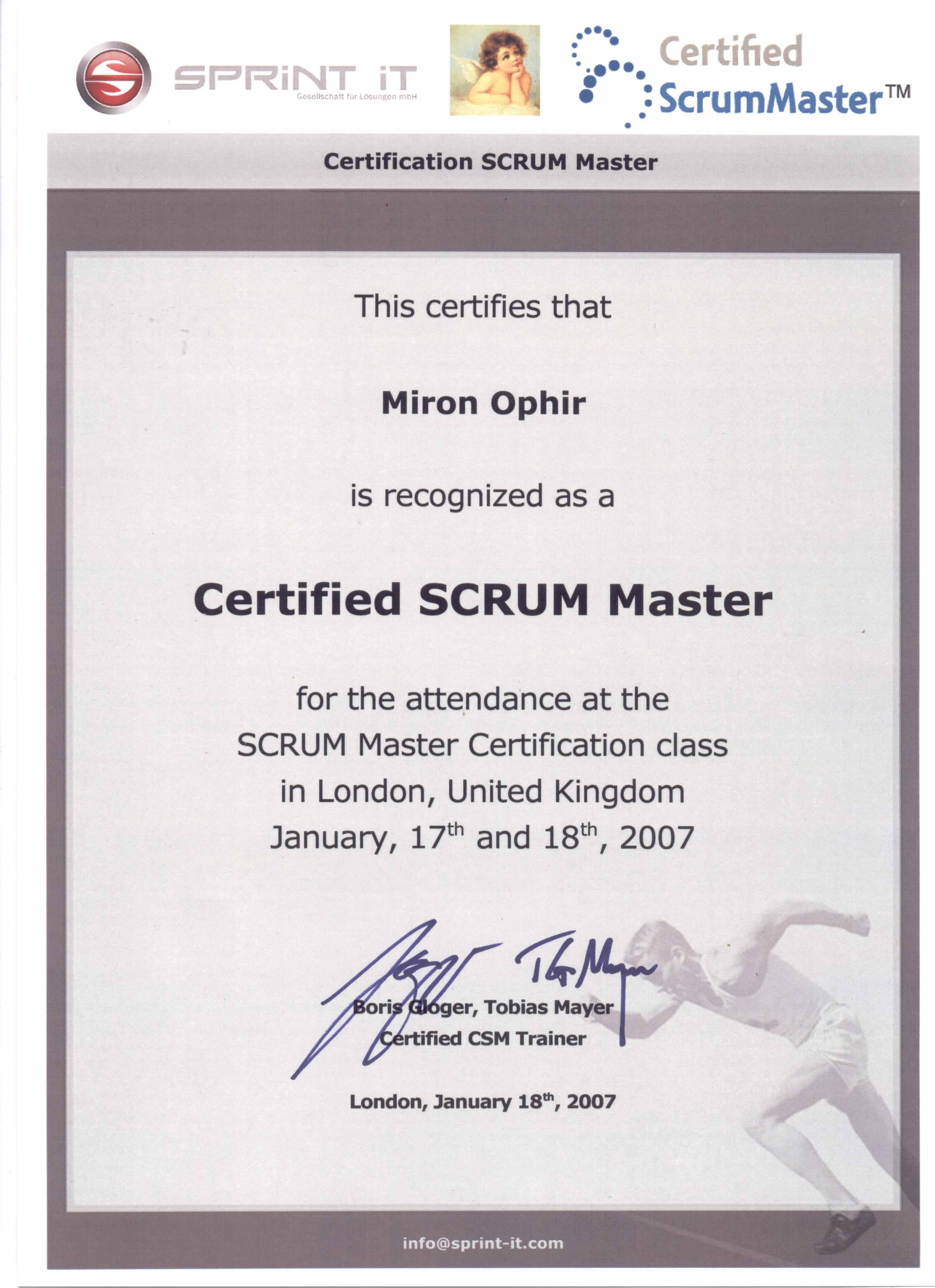 Certified SCRUM Master certificate